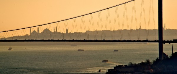 Istanbul. Sultanahmet behind the Bosphorus Bridge